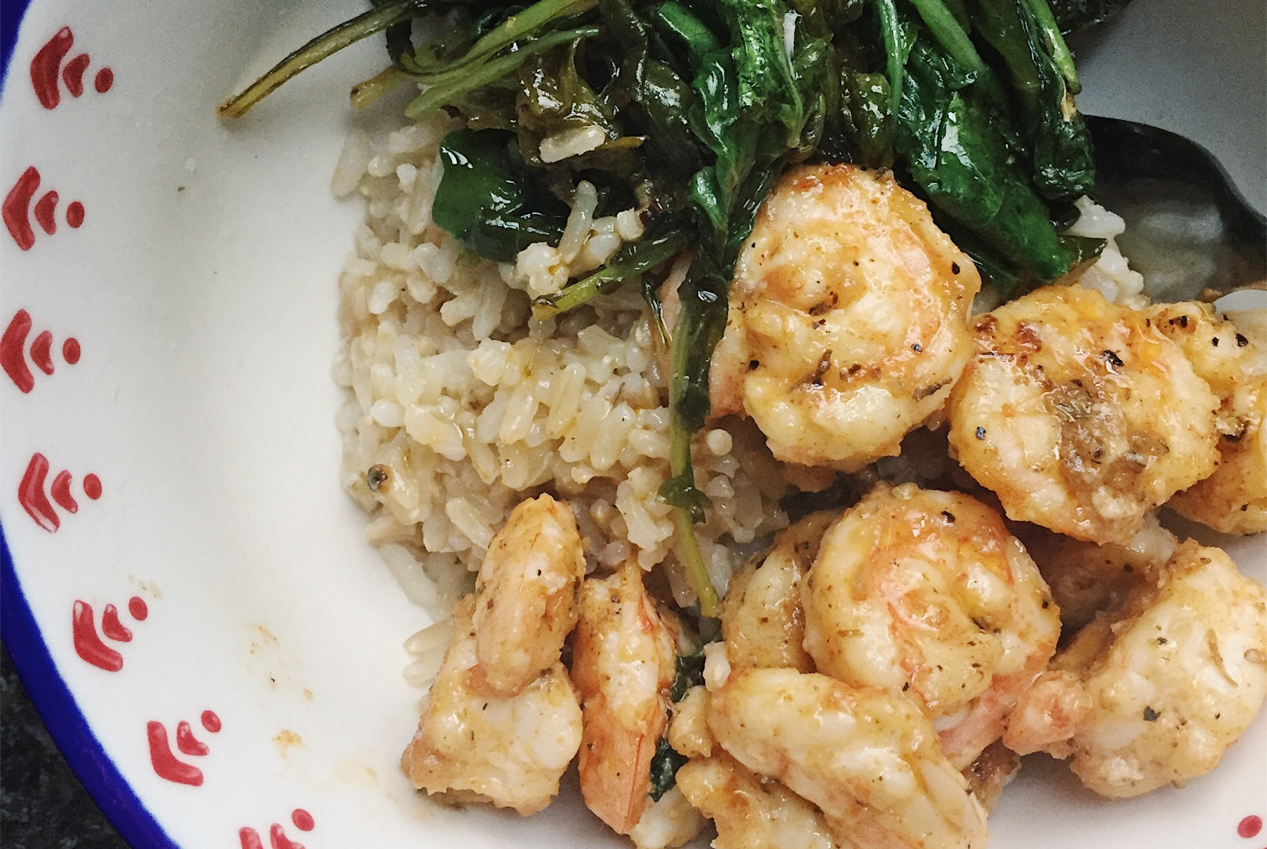 Spicy Garlic and Lime Shrimp (with brown rice and garlicky kale)